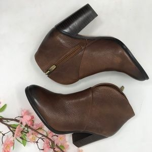 Vince Camuto Brown Leather Zip Up Ankle Boots sz 6